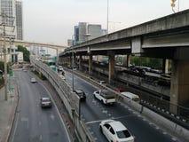 Vipawadee路,曼谷,在高途中的泰国5月16,2019堵车 库存图片