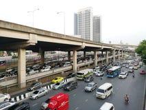 Vipawadee Road, Bangkok, Thailand-May 16,2019 Traffic Jam on the high way stock image