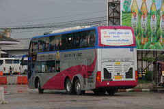 Vipbus route bangkok and chiangmai. Double deck bus class 1(Pink VIP), Extra large seat , aircondition and restroom. Service include food and drink. Best bus Stock Photography