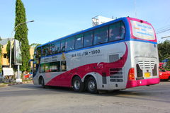 Vipbus route bangkok and chiangmai. Double deck bus class 1(Pink VIP), Extra large seat , aircondition and restroom. Service include food and drink. Best bus Stock Photo