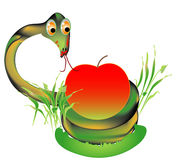 Viper with apple Stock Images