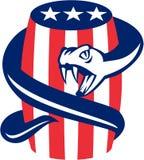 Viper Coiling Up Keg USA Flag Retro Stock Photo