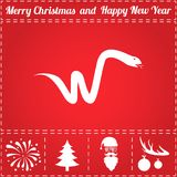 Viper Icon Vector. And bonus symbol for New Year - Santa Claus, Christmas Tree, Firework, Balls on deer antlers Stock Photo