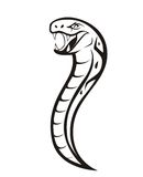 Viper Snake. A black and white illustration of a viper that is ready to attack stock illustration