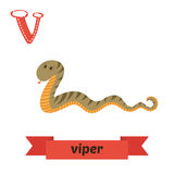 Viper. V letter. Cute children animal alphabet in vector. Funny Stock Images