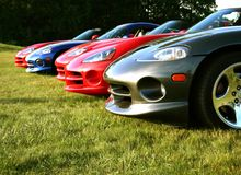 Vipers are ready for racing. Dodge Vipers in a row Stock Image