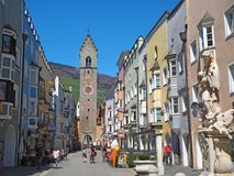 Vipiteno, Bolzano, Trentino Alto Adige. The pedestrian street of the village with the traditional Tyrolean houses. Spring time royalty free stock photos