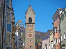 Vipiteno, Bolzano, Trentino Alto Adige. The pedestrian street of the village with the traditional Tyrolean houses. Spring time stock photo
