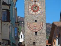 Vipiteno, Bolzano, Trentino Alto Adige. The tower of the Twelve in the pedestrian street of the village. Spring time royalty free stock photos
