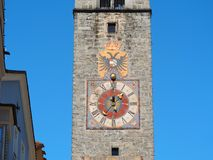 Vipiteno, Bolzano, Trentino Alto Adige. The tower of the Twelve in the pedestrian street of the village. Spring time royalty free stock images