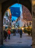 Vipiteno during Christmas time in the evening. Trentino Alto Adige, Italy. Vipiteno is a comune in South Tyrol in northern Italy. It is the main village of the royalty free stock photo