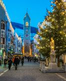 Vipiteno during Christmas time in the evening. Trentino Alto Adige, Italy. Vipiteno is a comune in South Tyrol in northern Italy. It is the main village of the stock image
