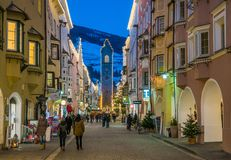 Vipiteno during Christmas time in the evening. Trentino Alto Adige, Italy. Vipiteno is a comune in South Tyrol in northern Italy. It is the main village of the stock photos