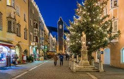 Vipiteno during Christmas time in the evening. Trentino Alto Adige, Italy. Vipiteno is a comune in South Tyrol in northern Italy. It is the main village of the stock images