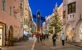 Vipiteno during Christmas time in the evening. Trentino Alto Adige, Italy. Vipiteno is a comune in South Tyrol in northern Italy. It is the main village of the stock photo
