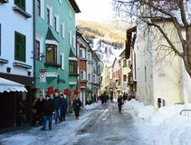 VIPITENO, ITALY - JANUARY 23, 2018: people in main street of the old medieval town of Vipiteno Sterzing, South Tyrol, Italy royalty free stock images
