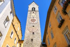Vipiteno Sterzing bell tower clock - Alto Adige - Italy.  stock images