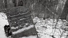 Vippad på gravsten i övergiven kyrkogård royaltyfria bilder