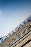 Vippad på strand Arkivbild