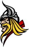 Viquingue/logotipo bárbaro da mascote ilustração do vetor