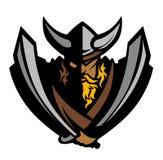 Viquingue/logotipo bárbaro da mascote Fotos de Stock