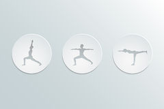 Virabhadrasana icons set Royalty Free Stock Photos