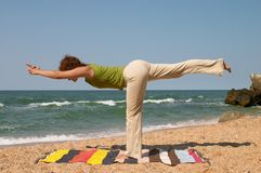 Virabhadrasana yoga pose Stock Images