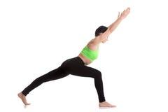 yoga virabhadrasana 1 pose variation stock image  image