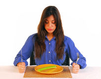 Virada da mulher nova com sua dieta Fotos de Stock Royalty Free