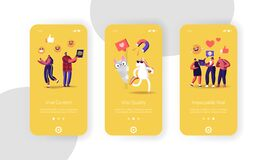 Viral Content Mobile App Page Onboard Screen Template. Funny Unicorn and Cat Characters, Social Media Streaming