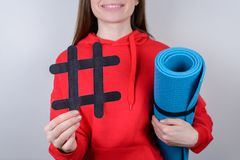 Viral content social media network concept. Cropped closeup photo of optimistic cheerful excited glad people holding sportive stock photography