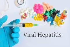 Viral hepatitis. Syringe with drugs for viral hepatitis treatment Stock Image