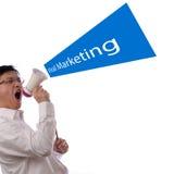 Viral Marketing Design Concept. Portrait of an asian businessman using a megaphone for viral marketing design concept Stock Photo
