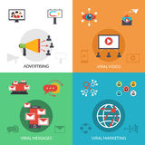 Viral marketing 4 flat icons square Royalty Free Stock Photography