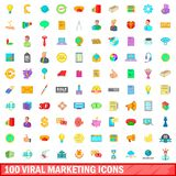 100 viral marketing icons set, cartoon style. 100 viral marketing icons set in cartoon style for any design illustration vector illustration