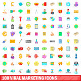 100 viral marketing icons set, cartoon style. 100 viral marketing icons set in cartoon style for any design vector illustration Vector Illustration