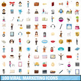100 viral marketing icons set, cartoon style. 100 viral marketing icons set in cartoon style for any design vector illustration Stock Photography