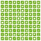 100 viral marketing icons set grunge green Royalty Free Stock Photo