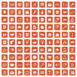 100 viral marketing icons set grunge orange. 100 viral marketing icons set in grunge style orange color isolated on white background vector illustration Royalty Free Stock Photo