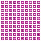 100 viral marketing icons set grunge pink. 100 viral marketing icons set in grunge style pink color isolated on white background vector illustration Vector Illustration
