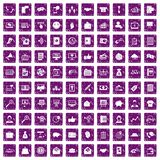 100 viral marketing icons set grunge purple. 100 viral marketing icons set in grunge style purple color isolated on white background vector illustration Royalty Free Stock Image