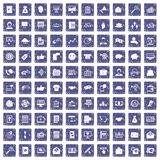 100 viral marketing icons set grunge sapphire. 100 viral marketing icons set in grunge style sapphire color isolated on white background vector illustration Royalty Free Stock Images