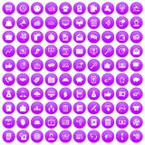 100 viral marketing icons set purple. 100 viral marketing icons set in purple circle isolated on white vector illustration Stock Photo