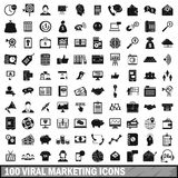 100 viral marketing icons set, simple style. 100 viral marketing icons set in simple style for any design vector illustration vector illustration