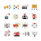 Viral marketing technique flat icons set. Viral marketing advertisement replicating technique via social media service technologies flat icons set abstract Stock Images
