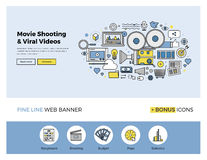 Viral movie shooting flat line banner Stock Photo