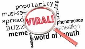 Viral Popularity Spreading Buzz Words Magnifying Glass 3d Illust. Ration Stock Image