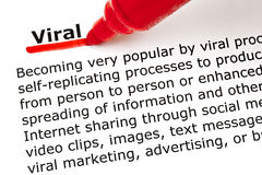 Viral underlined with red marker. The word Viral underlined with red marker on white paper Royalty Free Stock Image