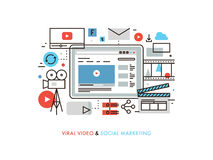 Viral video production flat line illustration. Thin line flat design of viral video production, digital marketing campaign, internet medium mass communication Stock Image