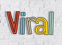 Viral word and Brick Wall in the Background Royalty Free Stock Image